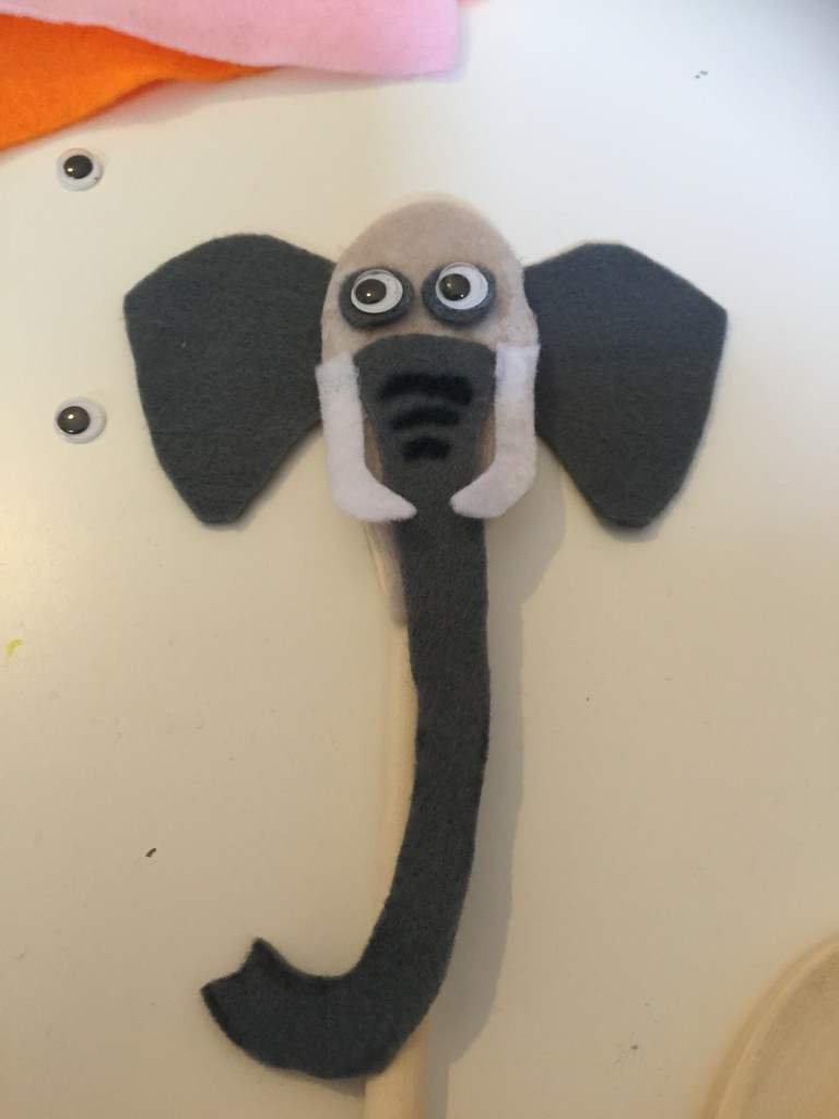 Finished wooden spoon elephant