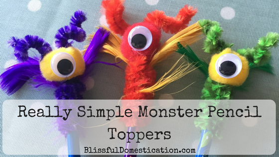Really simple monster pencil topers