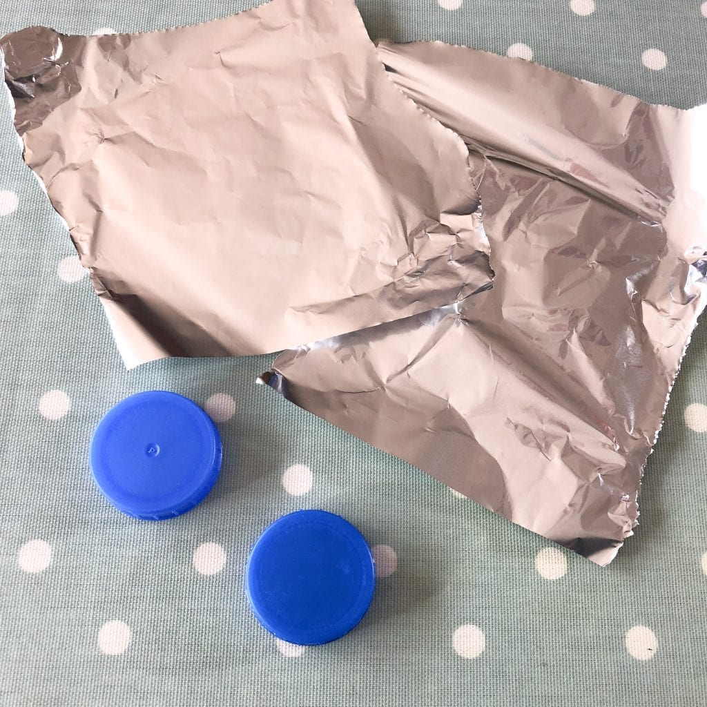 milk bottle tops and tin foil