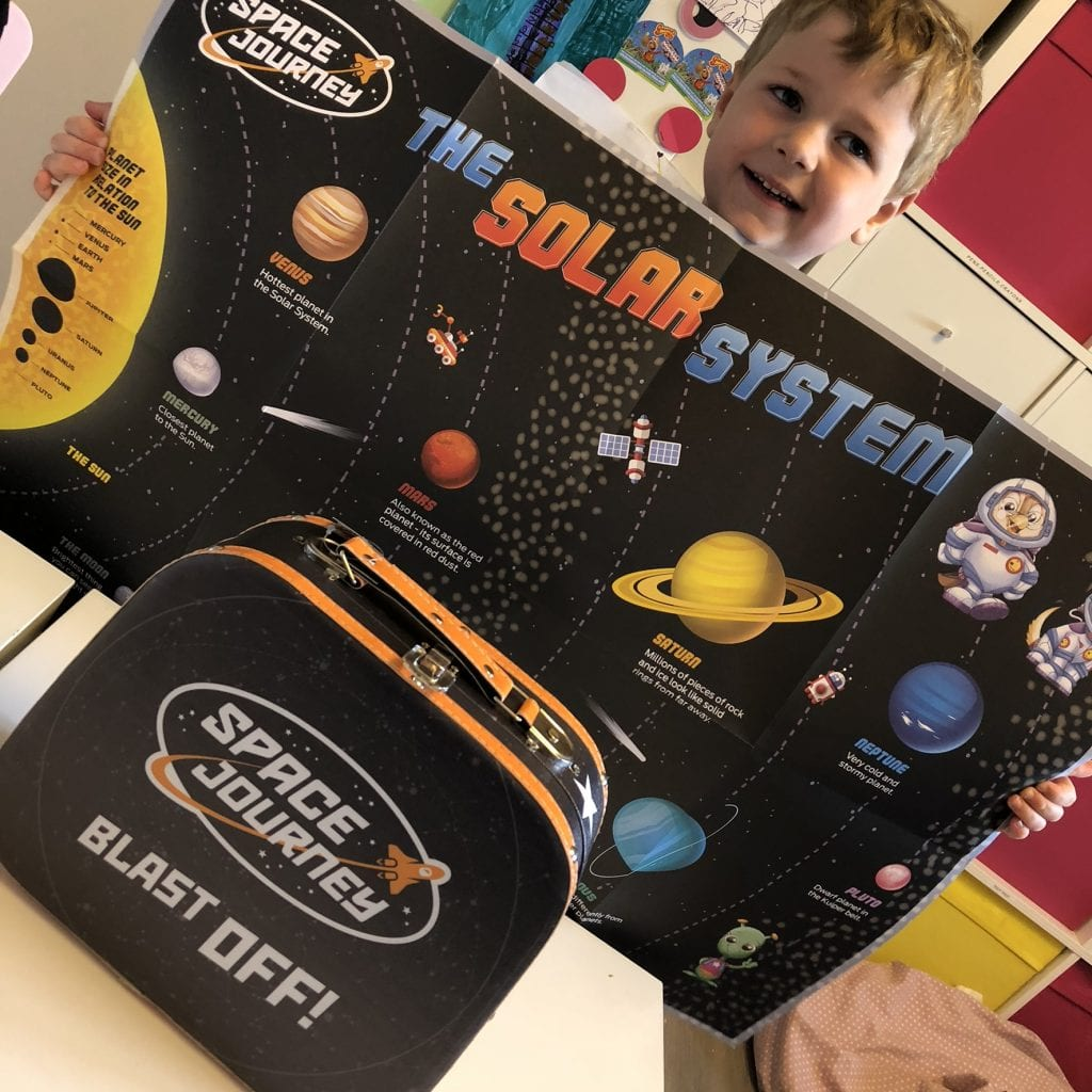 Oliver holding up a large poster of the solar system
