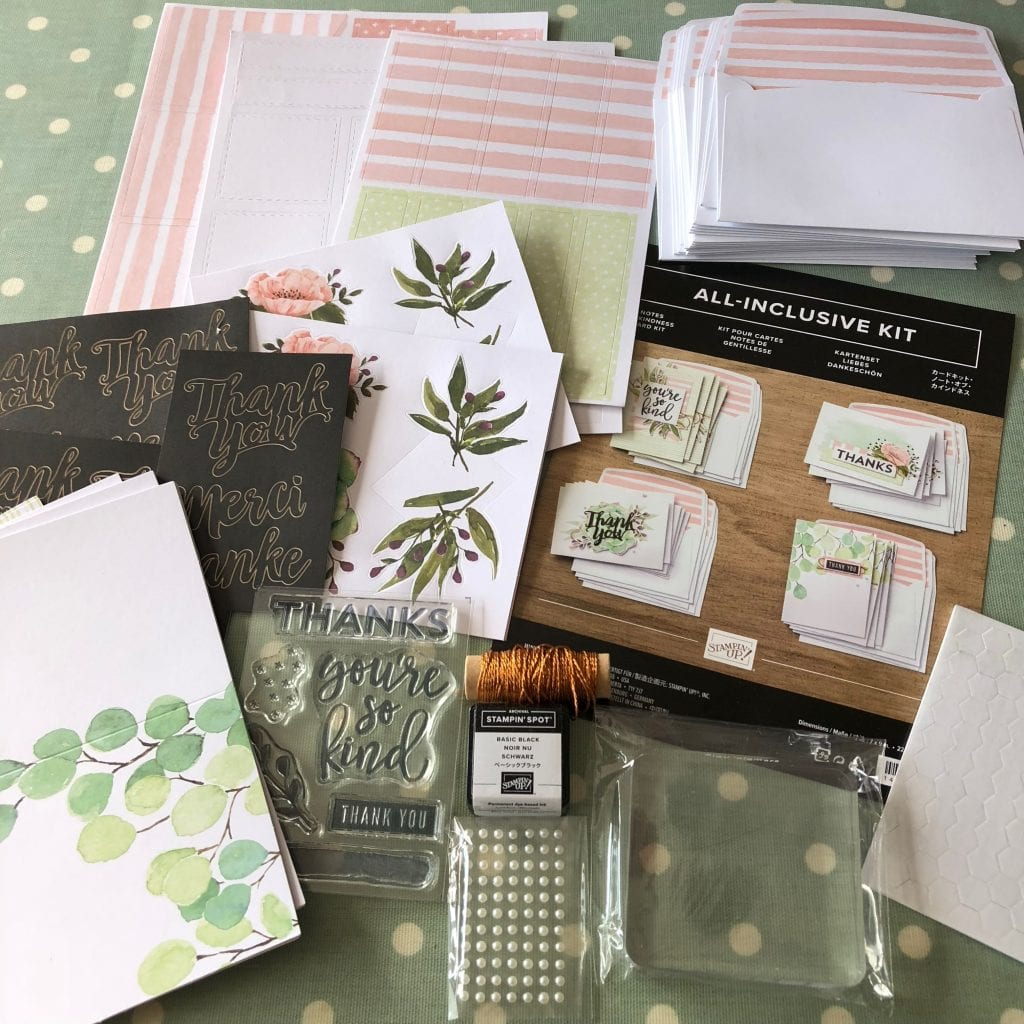 Contents of Notes of Kindness Card Kit