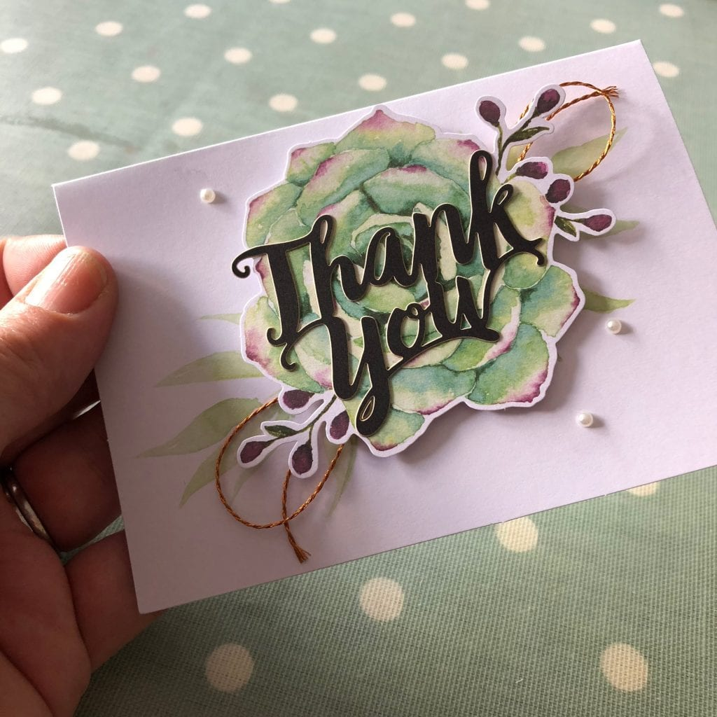Completed Thank You card