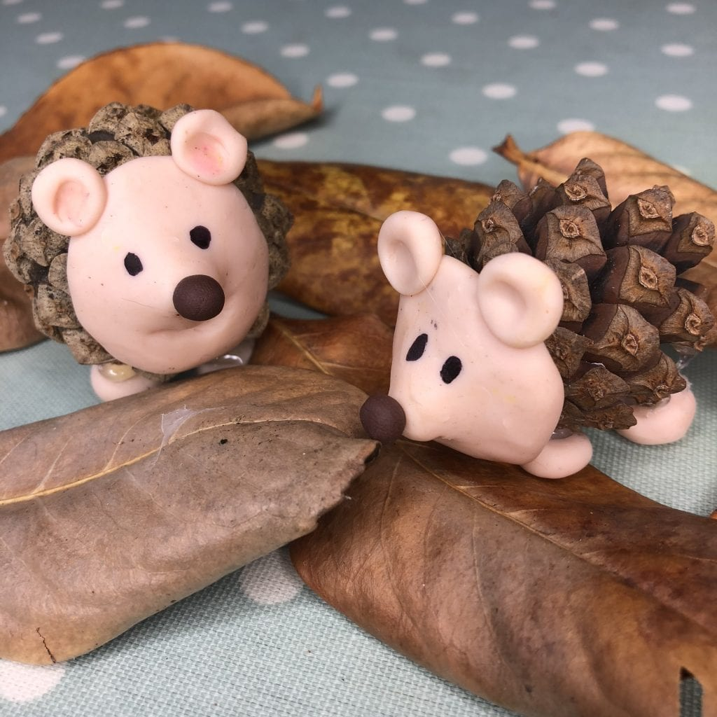 pine cone and polymer clay hedgehogs