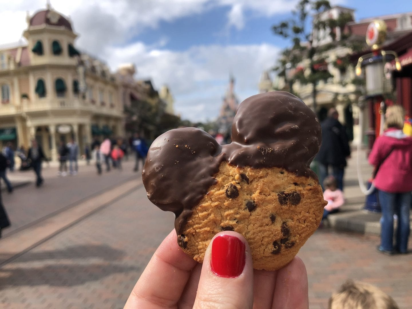 Chocolate chip Mickey shaped cookie with chocolate dipped ears