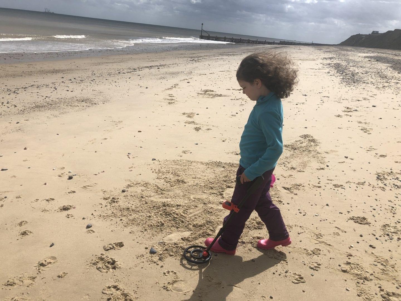 Metal detecting on Trimingham beach, North Norfolk