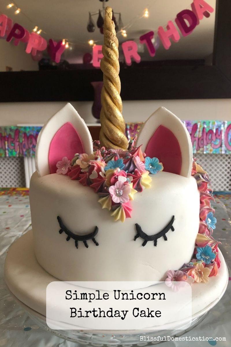 Pleasing Simple Unicorn Birthday Cake Blissful Domestication Funny Birthday Cards Online Eattedamsfinfo