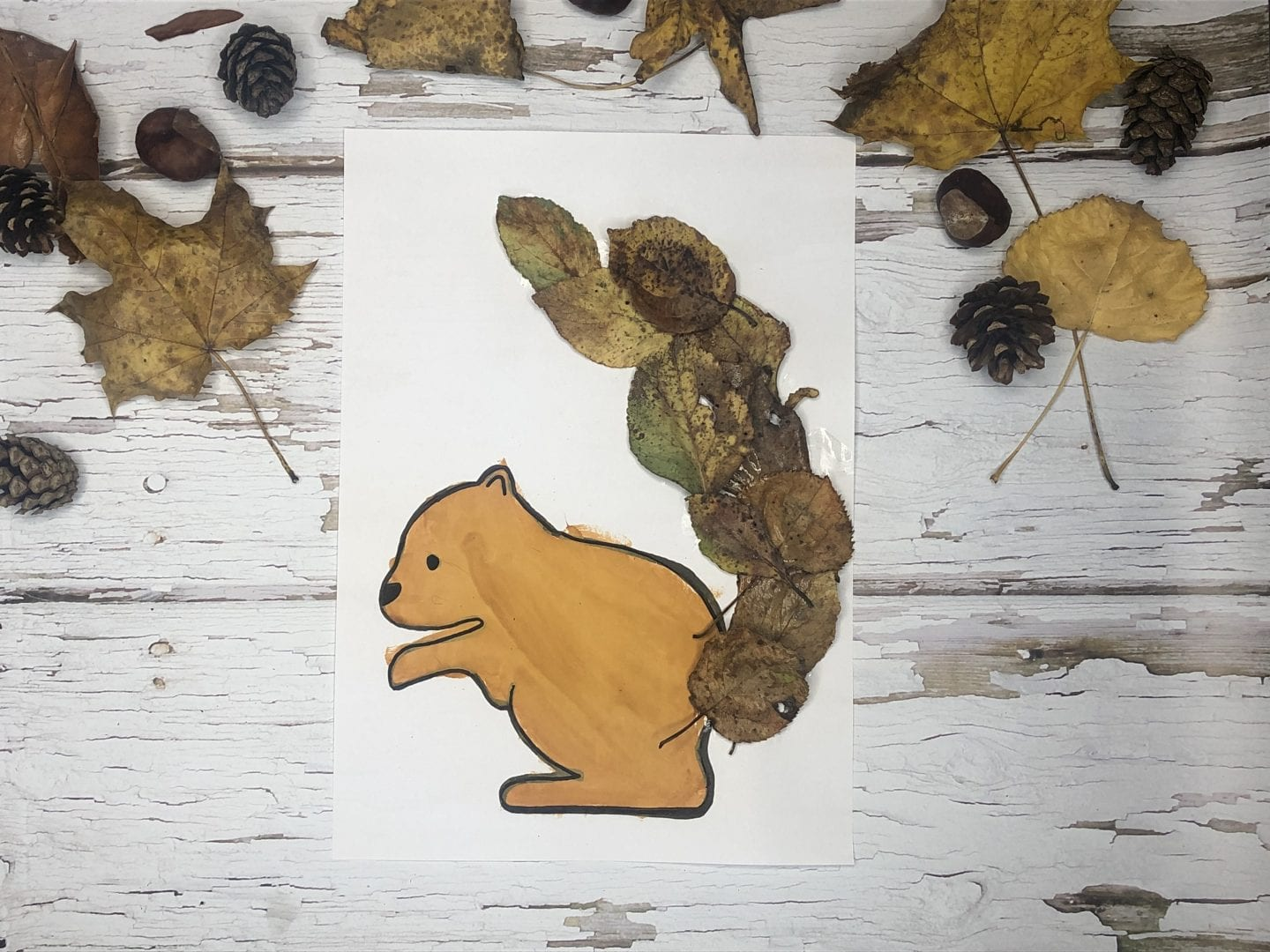 The finished squirrel leaf collage