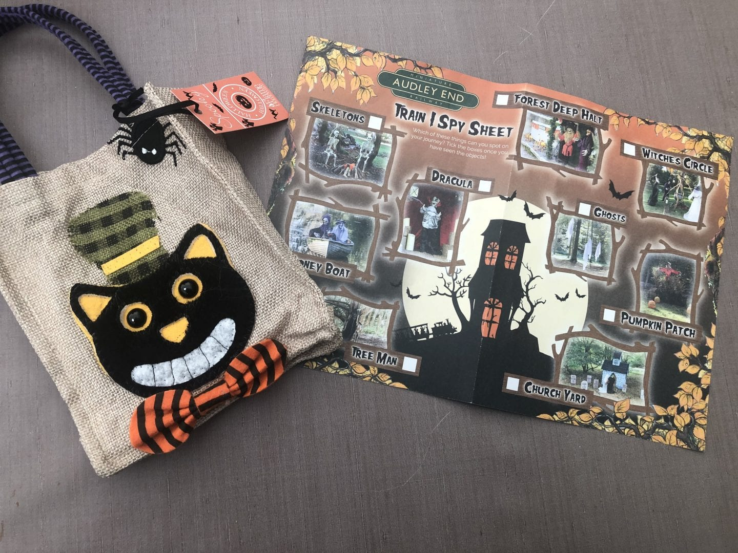 Trick or treat bag with Train-I-Spy sheet