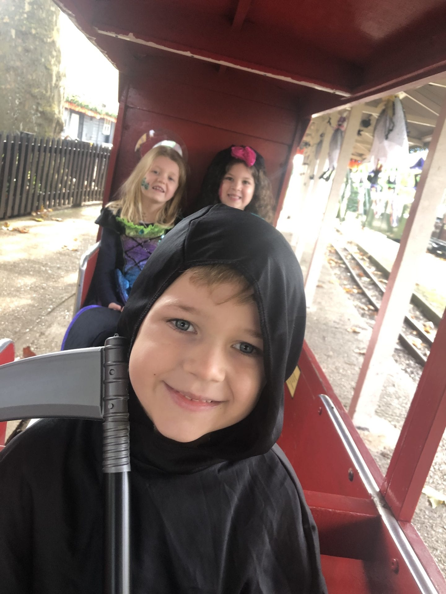 The 3 kids aboard the Audley End Minature Railway
