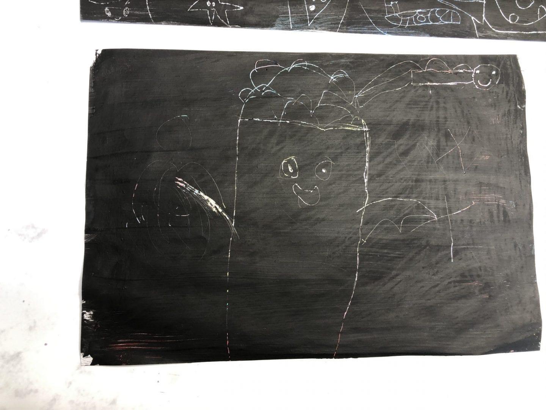 Oliver's finished scratch art