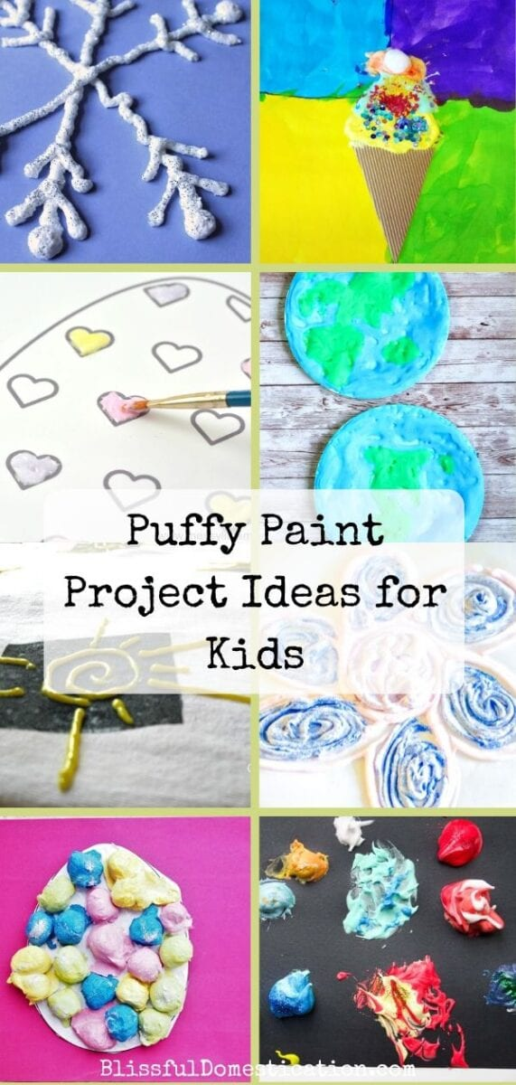 A collection of puffy paint project ideas for kids