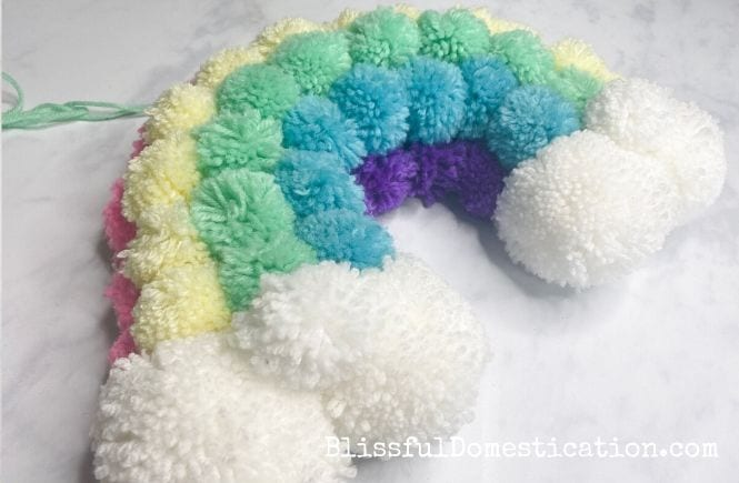 Rainbow pom pom wreath featured image