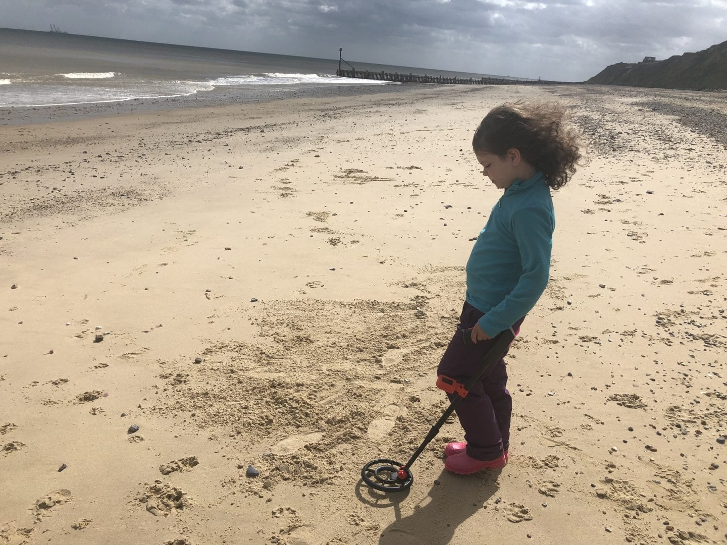 Young girl at the beach metal detecting.