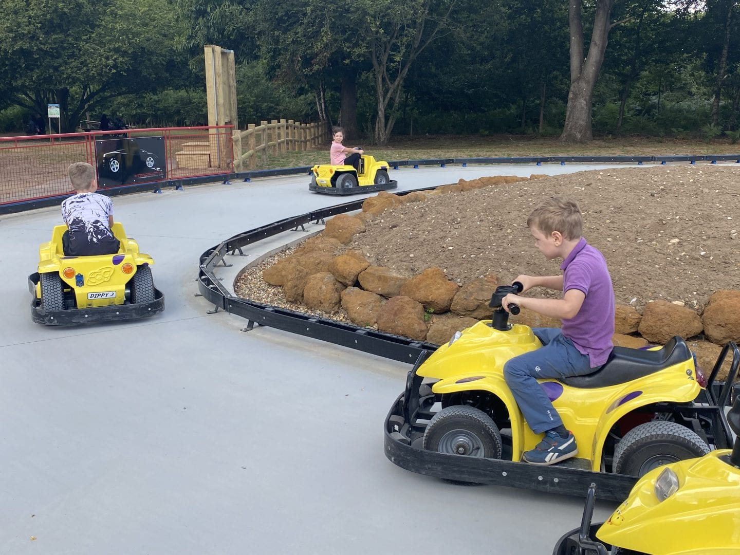 3 children riding on small electric cars around a track