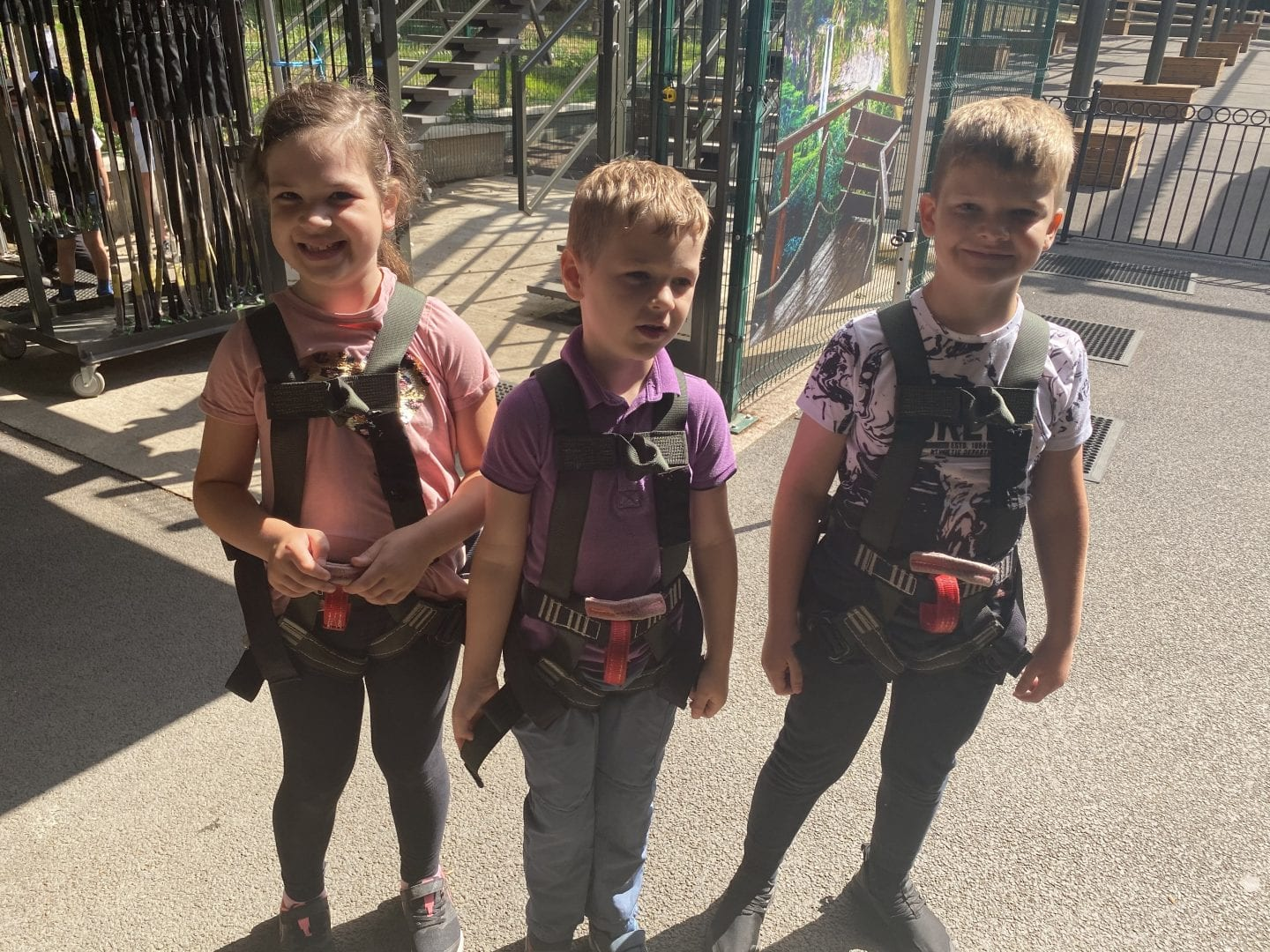 3 children in harnesses ready to go on the Predator high ropes
