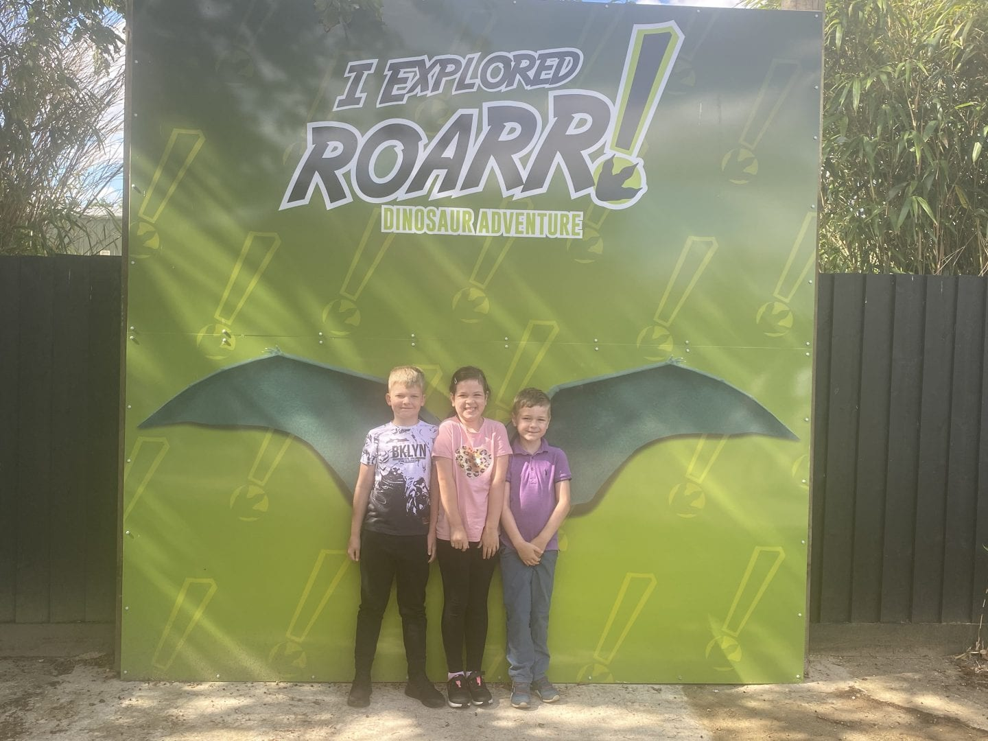 3 children stading in front of a poster of pterodactyl wings
